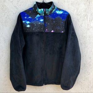 Fila Polar Fleece Galaxy Star Zip Up Jacket Sz L